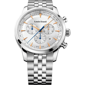 Louis Erard Men's Heritage Chronograph Quartz White Dial Bracelet Watch 13900AA11M