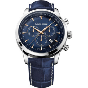 Louis Erard Men's Heritage Chronograph Quartz Blue Dial Leather Strap Watch 13900AA15