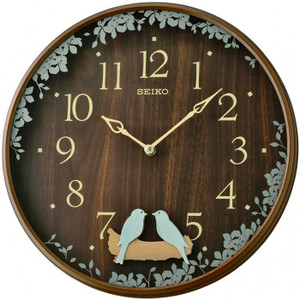Seiko Dark Brown Wooden Effect Plastic Swinging Bird Pendulum Wall Clock QXC237B