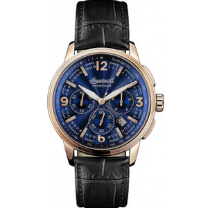 Ingersoll Men's The Regent Quartz Chronograph Blue Dial Leather Strap Watch I00105