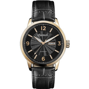 Ingersoll Men's The Regent Automatic Black Dial Leather Strap Watch I00203
