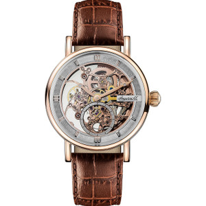 Ingersoll Men's The Herald Automatic Rose Skeleton Dial Brown Leather Strap Watch I00401
