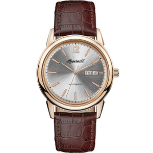 Ingersoll Men's The New Haven Automatic Silver Dial Brown Leather Strap Watch I00503