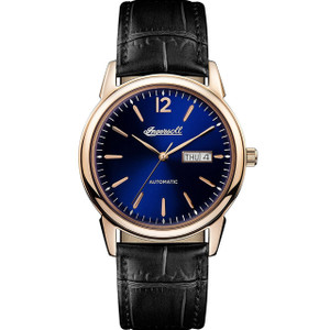 Ingersoll Men's The New Haven Automatic Blue Dial Black Leather Strap Watch I00504
