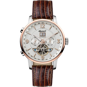 Ingersoll Men's The Grafton Automatic White Dial Brown Leather Strap Watch I00701