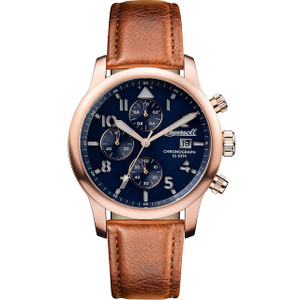 Ingersoll Men's The Hatton Quartz Chronograph Blue Dial Leather Strap Watch I01502