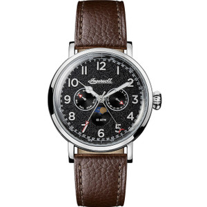 Ingersoll Men's The ST Johns Quartz Black Dial Leather Strap Watch I01601