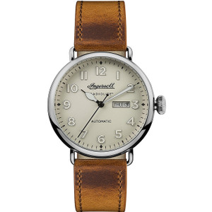 Ingersoll Men's The Trenton Automatic White Dial Leather Strap Watch I03404
