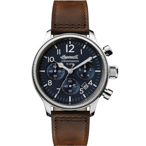 Ingersoll Men's The Apsley Quartz Chronograph Blue Dial Leather Strap Watch I03803
