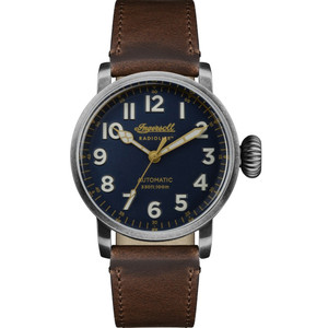 Ingersoll Men's The Linden Radiolite Automatic Blue Dial Leather Strap Watch I04803