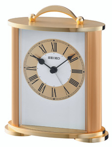 Seiko Gold Carriage Mantel Clock With Beep Alarm QHE092G