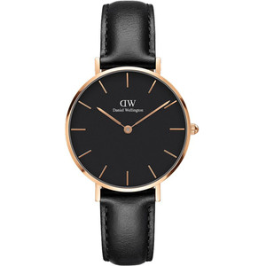 Daniel Wellington Women's Classic Petite Sheffield Quartz Black Dial Leather Strap Watch DW00100168