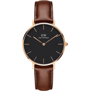 Daniel Wellington Women's Classic Petite St Mawes Quartz Black Dial Leather Strap Watch DW00100169