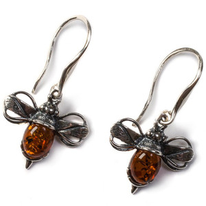 Henryka Bumble Bee Cognac Amber And Silver Hook Earrings 1/6005/100/H/C-BU