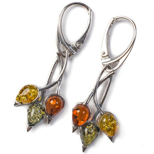 Henryka Nature Cognac, Yellow & Green Amber And Silver Beech Leaf Drop Earrings EH303/CGY-B