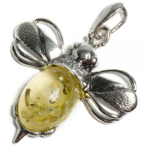 Henryka Bumble Bee Large Yellow Amber And Silver Pendant With Chain 1/6005/200/Y-BU