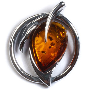Henryka Miniature Leaf Cognac Amber And Silver Pendant With Chain PH304/C-B