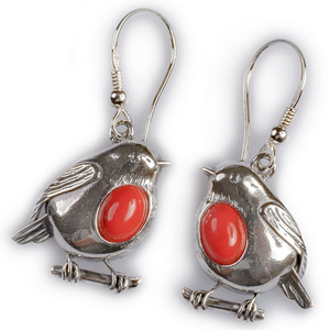 Henryka Robin Silver And Coral Hook Earrings EH546/COR-COS