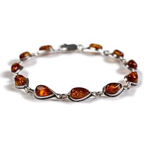 Henryka Forms Cognac Amber & Silver Teardrop Link Bracelet 2/4936/100/C-BU