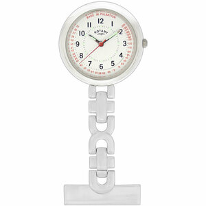 Rotary Women's White Dial Stainless-Steel Nurses Fob Watch LPI00616