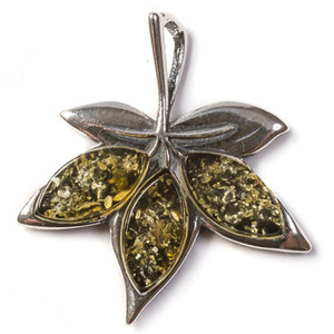 Henryka Nature Silver And Green Amber Maple Leaf Pendant With Chain PH301/G-B
