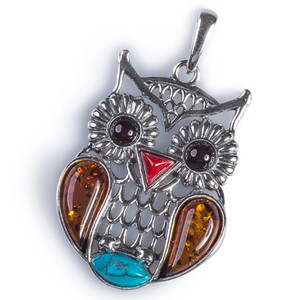 Henryka Owl Turquoise, Cognac & Cherry Amber And Silver Pendant With Chain PH708/CTQCH-BU-CH