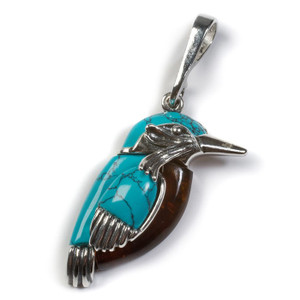 Henryka Kingfisher Small Silver, Amber And Turquoise Bird Pendant With Chain PH800/S-AAG
