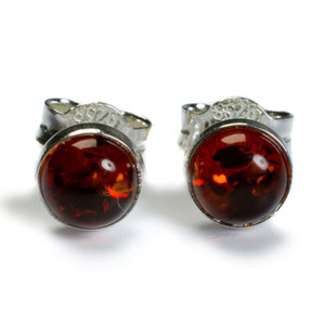 Henryka Form Round Silver And Cognac Amber Small Stud Earrings 1/1101/100/C-BU