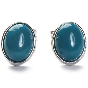 Henryka Form Oval Small Silver And Turquoise Stud Earrings 2/4552/100/TQ-BU
