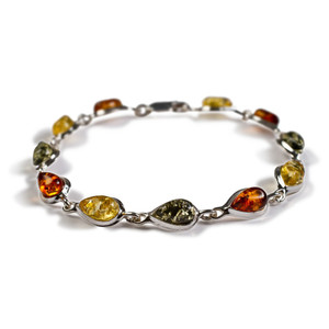 Henryka Form Cognac, Green & Yellow Amber And Silver Teardrop Link Bracelet 2/4936/100/CGY-BU