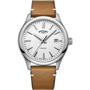 Rotary Men's Oxford Quartz Silver Dial Leather Strap Watch GS05092/02
