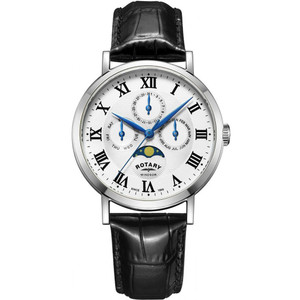 Rotary Men's Windsor Moonphase Quartz Silver White Dial Leather Strap Watch GS05325/01