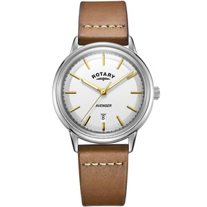 Rotary Men's Avenger Quartz Silver Dial Leather Strap Watch GS05340/02