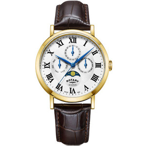 Rotary Men's Windsor Moonphase Quartz PVD Gold Plated Leather Strap Watch GS05328/01