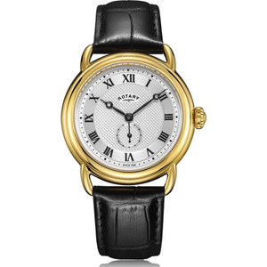 Rotary Men's Canterbury Quartz Silver Dial PVD Gold Plated Leather Strap Watch GS05338/21
