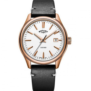 Rotary Men's Oxford Quartz PVD Rose Gold Plated Leather Strap Watch GS05094/02