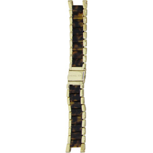 Micheal Kors Gold With Turtle Shell Middle 19mm Stainless Steel bracelet Watch MK5688