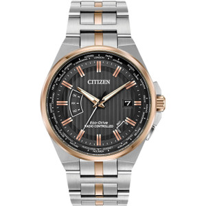 Citizen Eco-Drive Radio Controlled Perpetual Calendar World Time Two-Tone Bracelet Watch CB0166-54H