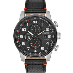 Citizen Men's Eco-Drive Primo Chronograph Black Leather Strap Watch CA0681-03E