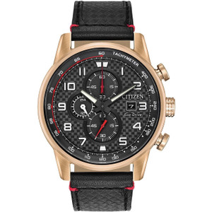 Citizen Men's Eco-Drive Primo Chronograph Black Dial Leather Strap Watch CA0683-08E