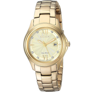 Citizen Women's Eco-Drive Silhouette Crystals Gold Dial Stainless-Steel Bracelet Watch FE1132-84P