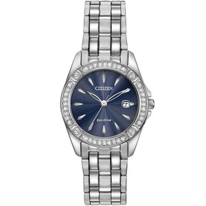 Citizen Women's Eco-Drive Silhouette Blue Sunray Dial Swarovski Crystals Bracelet Watch EW2350-54L