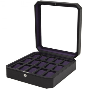 Wolf Windsor Black/Purple Wrist Watch Storage Box For 15 Watches 458503