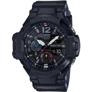 G-Shock Aviator Digital Compass Thermometer Twin Sensor Black Watch GA-1100-1A1ER