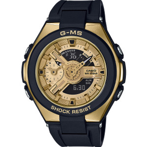 Casio G-MS Ladies Metallic Sports Black And Gold Watch MSG-400G-1A2ER