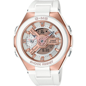 Casio G-MS Ladies Metallic Sports White And Rose Gold Watch MSG-400G-7AER