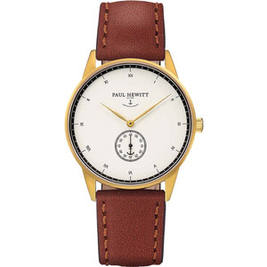 Paul Hewitt Unisex Signature Line White Dial Brown Leather Strap Watch PH-M1-G-W-1M
