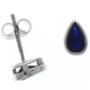 Fine Jewellery 9ct White Gold 6x4mm Pear Shaped Sapphire Studs Earrings 4109465