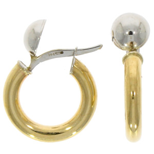 Fine Jewellery 9ct Yellow & White Gold Dome Top Polished Hoop 15mm Earrings 4109468