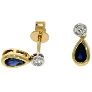 Fine-Jewellery 18ct Yellow & White Gold Pear Shaped Sapphire & Diamond Drops Earrings 4109470